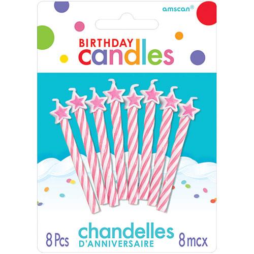 Candle Spiral Birthday Lt Pnk Stars