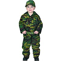 Aeromax Jr. Camouflage Suit With Cap, Child Sizes Green