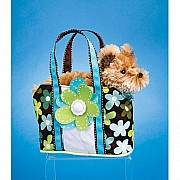 Daisy Madness Tote with Brown Dog