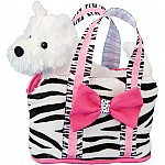 Stripes Tote with Terrier