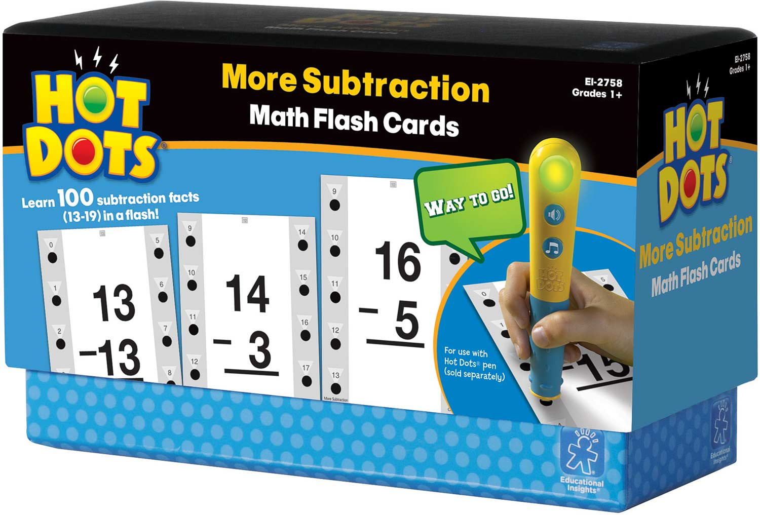 hot dots math flash cards more subtraction young minds toys. Black Bedroom Furniture Sets. Home Design Ideas