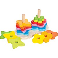 Wooden Double Rainbow Stacker
