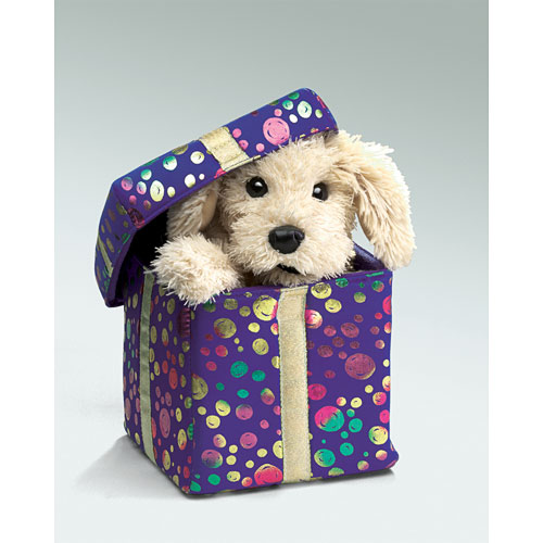 Gift box puppy hand puppet twinkles gift box puppy hand puppet negle Images