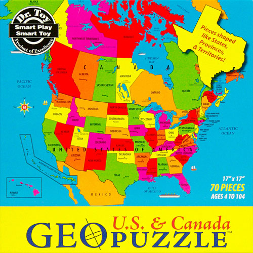 70 Piece Geopuzzle USA and Canada Puzzle  Becky  Me Toys