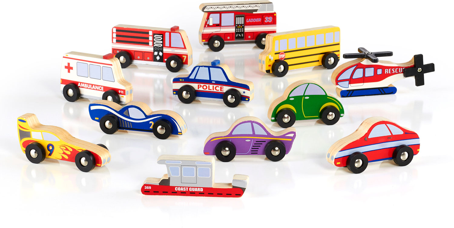 Wooden Vehicle Collection Set of 12 - Adventure Toys