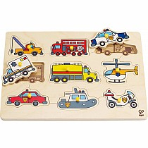 1 on 1 Emergency Vehicles Peg Puzzle