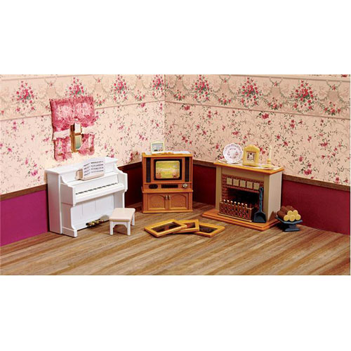 living room accessories set / calico critters - big sky toy room