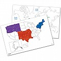 Write-on Wipe-off Desk Mats US World Maps