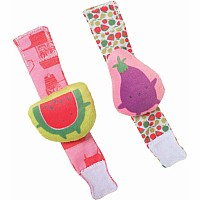 Farmerï¾¹s Market Watermelon & Eggplant Wrist Rattle Set