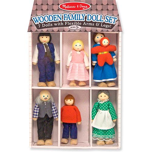 Wooden Family Doll Set Building Blocks