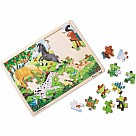 48 Piece Wooden Jigsaw Puzzle, Frolicking Horses