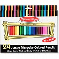 24 Jumbo Triangular Colored Pencils  Melissa and Doug