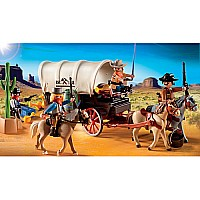Covered Wagon With Raiders