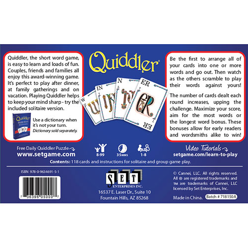 Quiddler Game With Pop Up Display The Toyworks