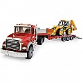 Bruder MACK Flatbed Truck with Backhoe