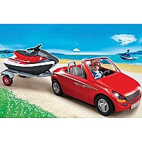 Red Convertible with Personal Watercraft