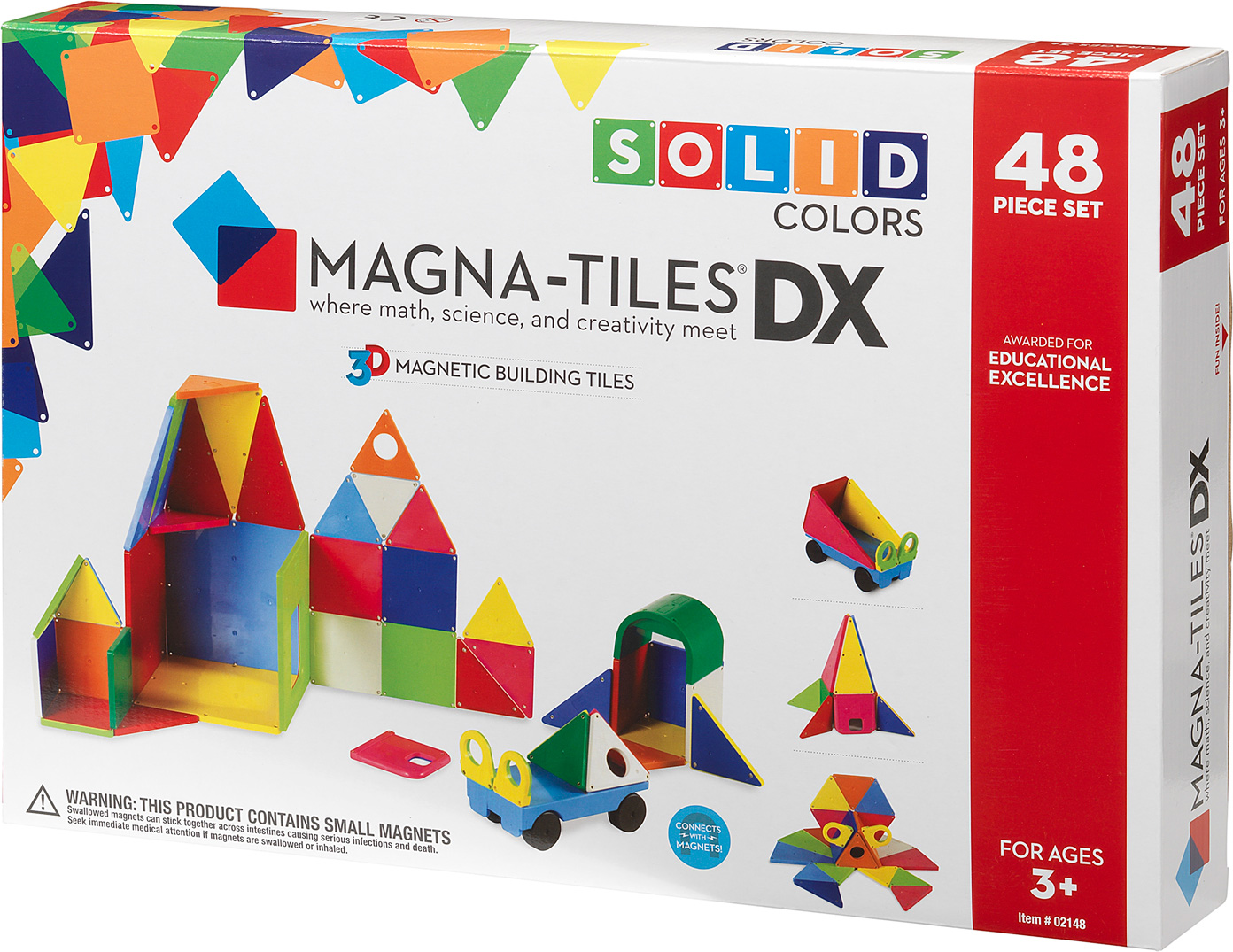 magna tiles solid colors 48 piece dx set young minds toys