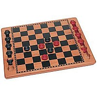 We Games Red Black Wood Checkers Set