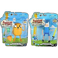 "Adventure Time 5"" Action Figures (3-14211 Finn With Accessories and 3-14215 Jake With Stretch Arms)"