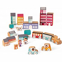 Kubix 22 City Pieces Wooden Building Set