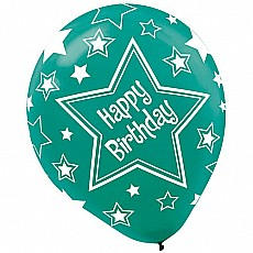 Balloon Printed Latex Assorted Star Birthday
