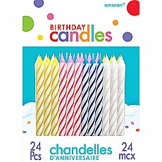 Candy Stripe Spiral Candles 24ct