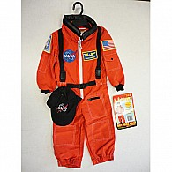 Jr. Astronaut Suit with Embroidered Cap, Size 6/ 8 (orange)