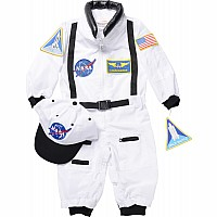 Aeromax White Jr. Astronaut Suit With Cap, Child - Size- 6-8