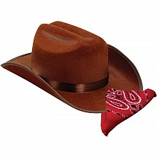 Jr. Cowboy Hat (Brown) w/Bandanna