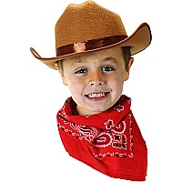 Jr. Cowboy Hat, Brown With Bandanna