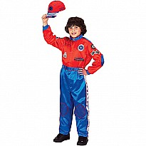 Jr. Champion Racing Suit with Cap, Size 6/ 8, (red/ Blue)