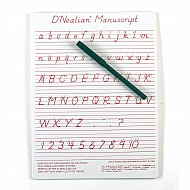 "D'Nealian Manuscript Write-On/ Wipe-Off Board With Pen 9""X12"""