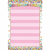 "French Immersion Smart Poly Chart 13""x19"", Confetti Horaire des classes (Class Schedule) *Grommett"