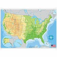 "Smart Poly Learning Mat 12""X17"" Double-Sided Us Map Physical"