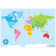 "Smart Poly Learning Mat 12""X17"" Double-Sided World Map Basic"