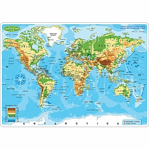 "Smart Poly Learning Mat 12""X17"" Double-Sided World Map Physical"