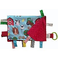 Satin 14x18 Farm Friends Lovey With Ribbon Tabs