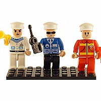 3 Mini-figurines Police, Fire Brigade, Navy