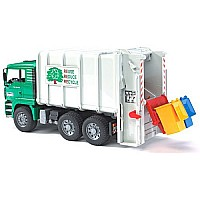 Man Rear Loading Garbage Truck