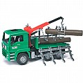 Man Timber Truck with Loading Crane and 3 Trunks - Bruder 2769