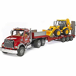 Bruder Mack Granite Flatbed Truck With Jcb Loader Backhoe