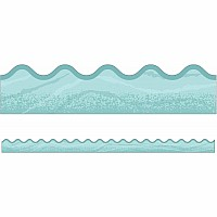 Blue Woodgrain Scalloped Borders