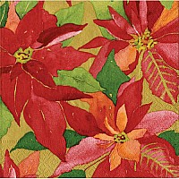 Entertaining with Caspari Poinsettia Painting Paper Cocktail Napkins, Gold, Pack of 20