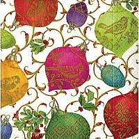 Entertaining with Caspari Cocktail Napkins, Gilded Ornaments, Ivory, 20-Pack