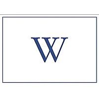 Entertaining with Caspari Embossed Navy Initial-W Blank Notecards, Box of 8