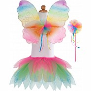 Neon Rainbow Skirt Wings and Wand Set