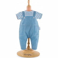 "12"" Striped T-Shirt & Overalls"