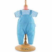 "14"" Striped T-Shirt & Overalls"