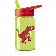 Crocodile Creek Eco Kids Green Dinosaur T-Rex Flip Straw Tritan Drinking Bottle 7""