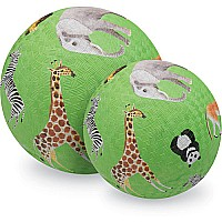 Crocodile Creek Wild Animals Green Playground Ball 7 inches